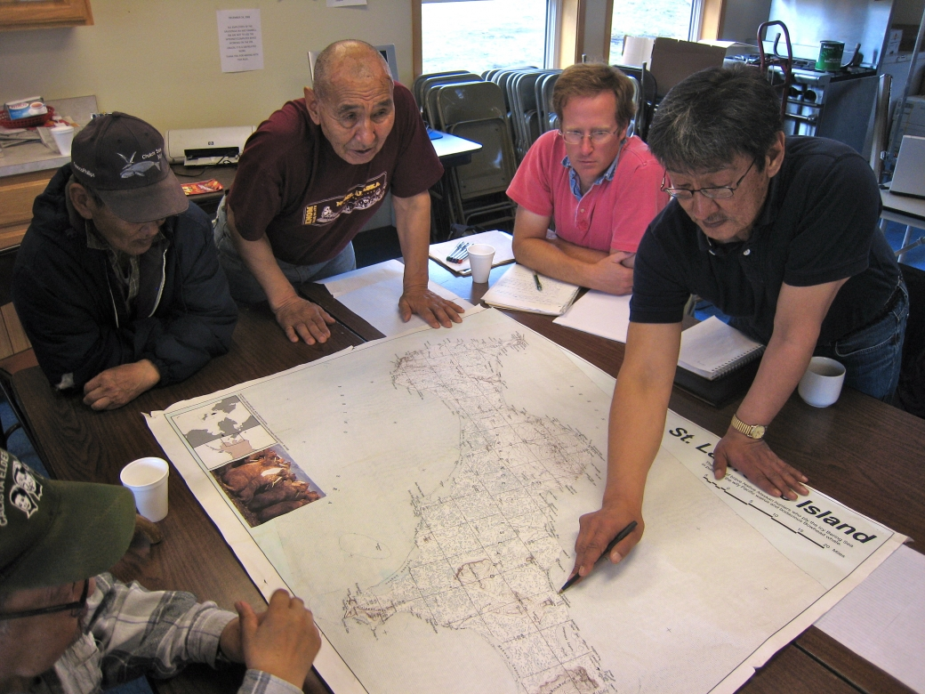Alaska native elders working with marine scientists in Savoonga