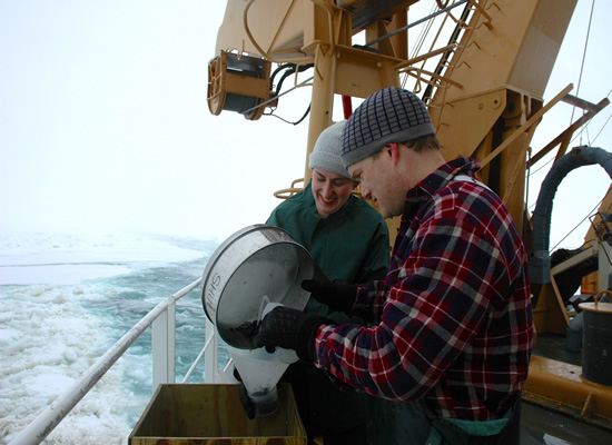 researchers collecting oceanographic samples