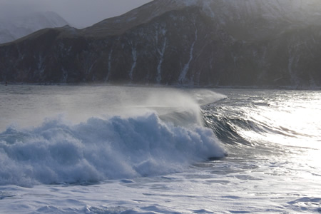 waves crashing on Alaska beach