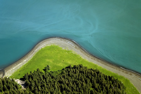 Aerial photograph of Alaska coastline
