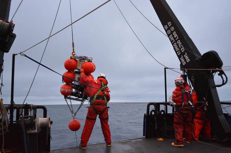 researchers deploying long-term mooring in the arctic